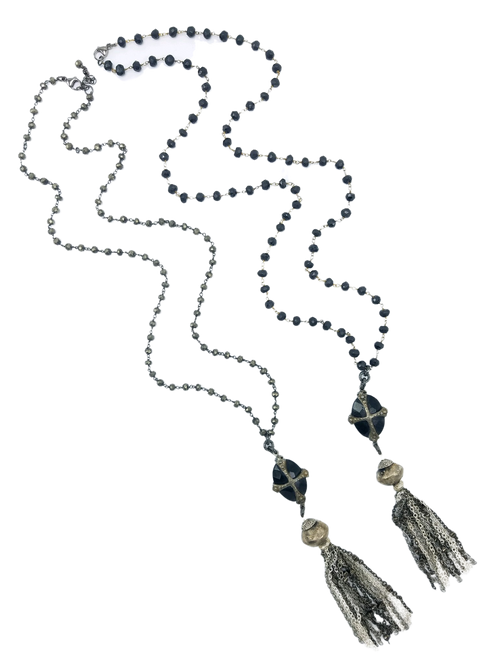 Black Spinel or Pyrite Chain with Vintage Connector and Tassel