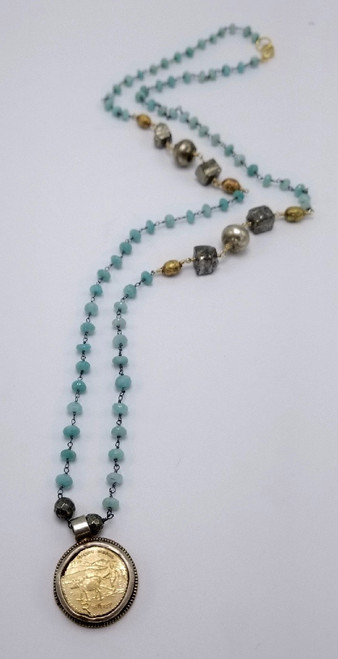 Amazonite and Pyrite Chain with Vintage Coin Necklace
