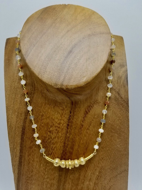 Mixed Moonstone with Ornate Gold Bar Necklace