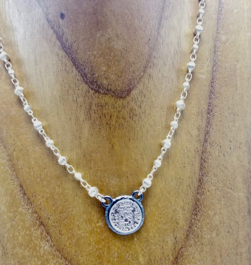 Matte Gold Beaded Chain and Coin Necklace