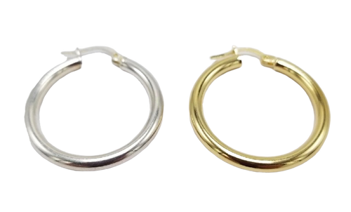 30mm Vermeil or Sterling Silver Hoop Earrings