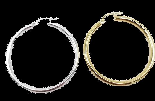 40 mm Vermeil or Sterling Silver Hoop Earrings