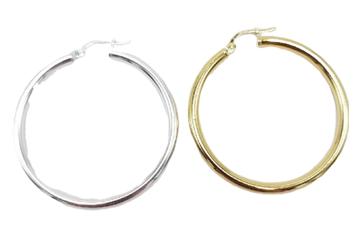 40 mm Vermeil or Sterling Silver Hoop Earrings