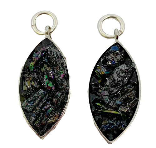 Black Druzy Encased in Silver Charms