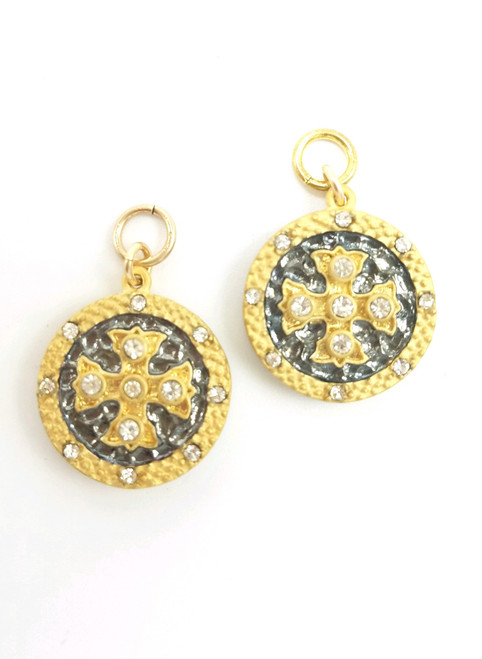 Matte Gold and Black CZ Charms
