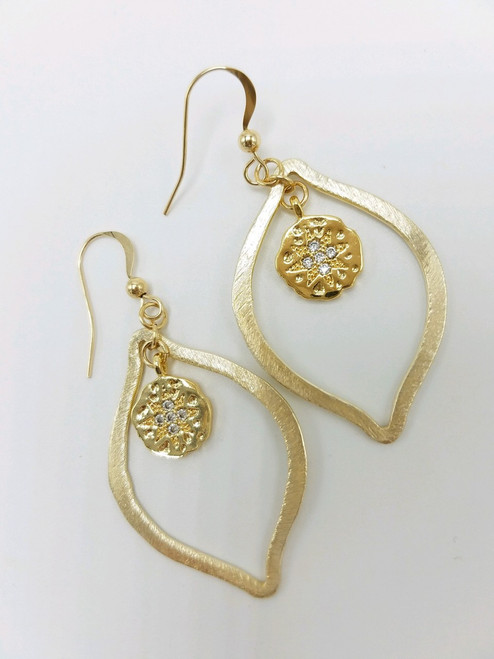 CZ Disc on Gold Hoop Earring