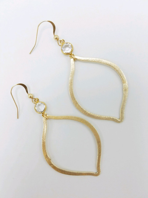Matte Gold Hoop with Amber Encased Stone Earrings