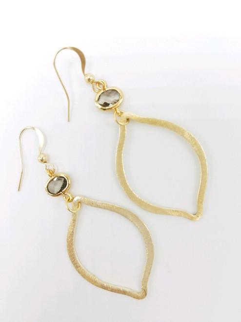 Matte Gold Hoop Gold Encased Smokey Quartz Earring