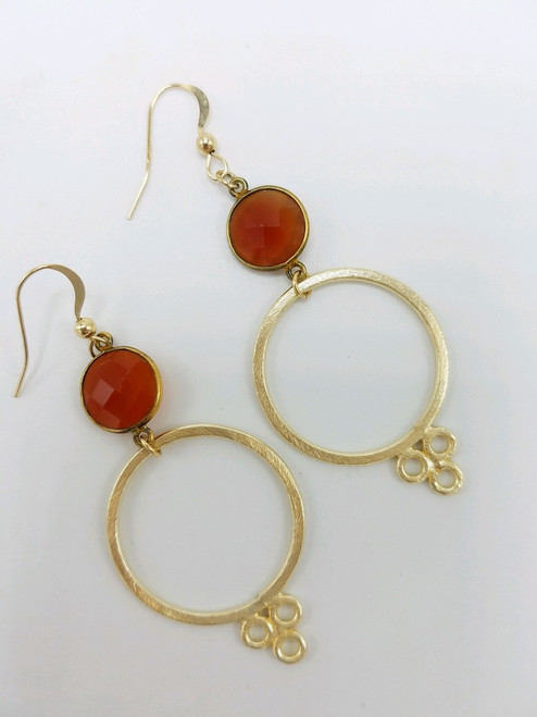 Carnelian and Matte Gold Earring