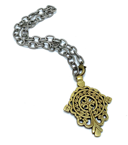 Antique Silver with Brass Tibetan Cross