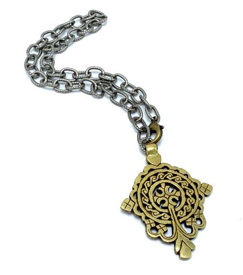 Antique Silver with Brass Tibetan Cross
