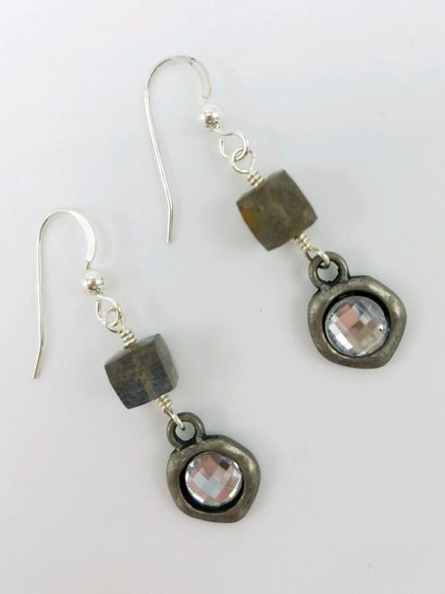 Labradorite and Silver Encased Crystal Earrings