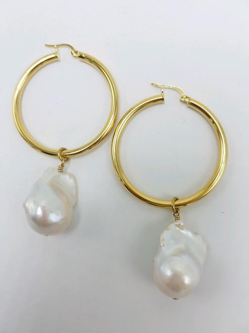 Baroque Pearl Drop for Hoop Earrings