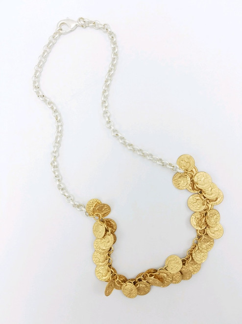 Silver Chain with Small Gold Coins Necklace
