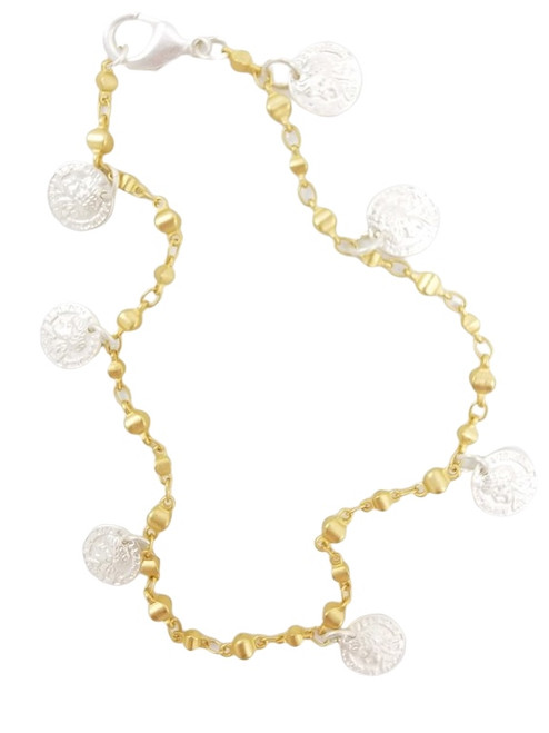 Matte Gold Ankle Bracelet with Silver Coins