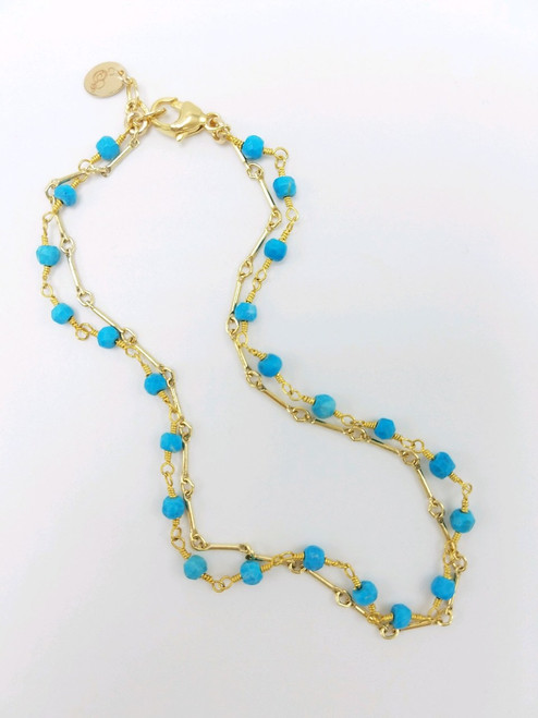 Double Strand Turquoise and Gold Chain Ankle Bracelet