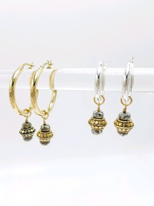 Silver Pyrite and Gold Charms