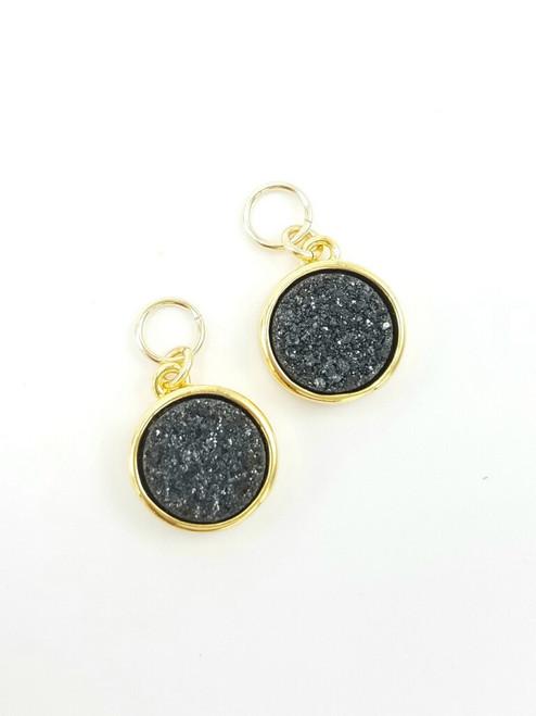 Black Druzy Encased in Gold Charms