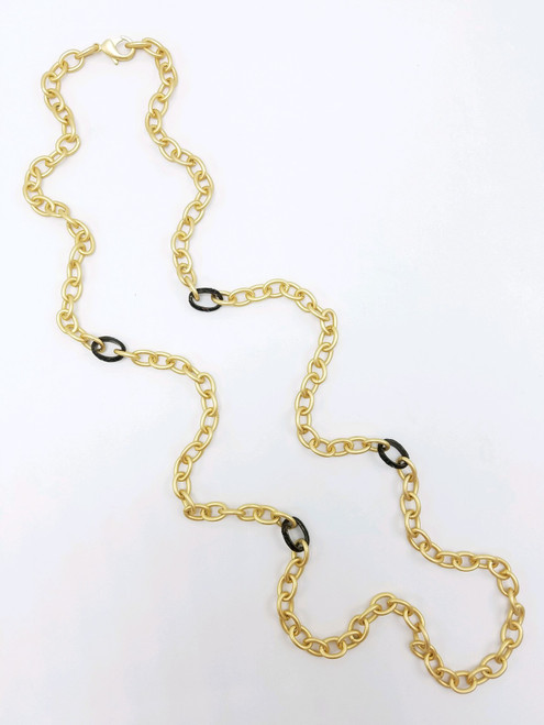 Matte Gold Necklace with Black Links