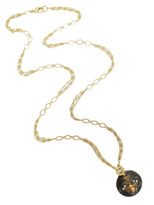 Queen Bee on Matte Gold Chain Necklace