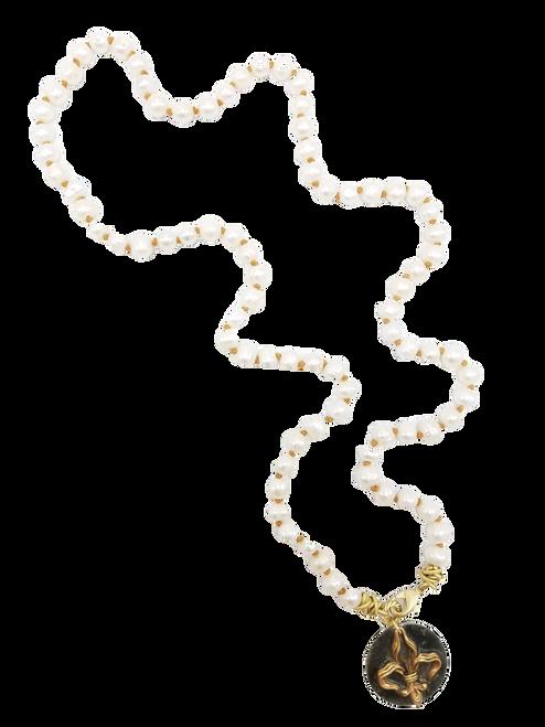 White Freshwater Pearl with Fleur de lis Pendant