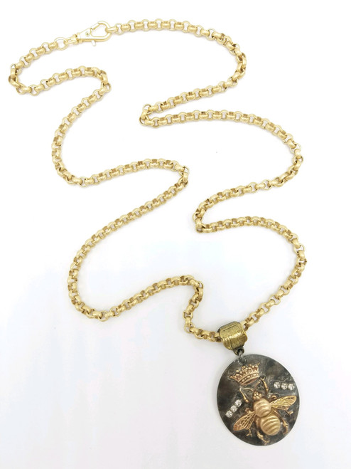 Queen Bee  on Matte Gold Necklace 2