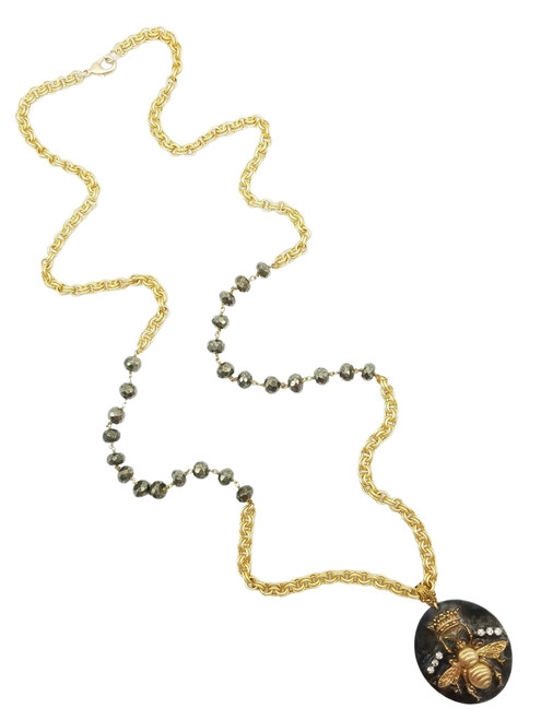 Queen Bee on Gold and Pyrite Chain Necklace