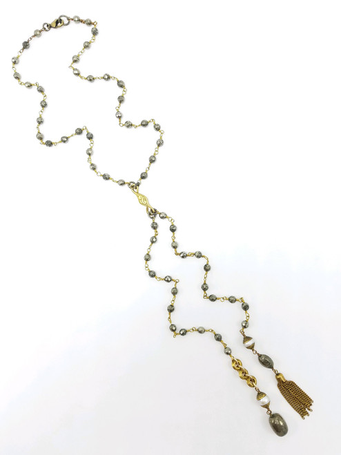 Pyrite Chain with Pearls and African Wedding Rings Necklace