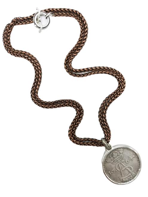 Copper Chain with French Coin Necklace