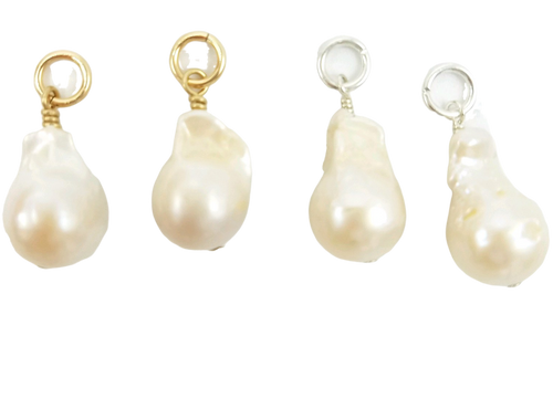 Small White Baroque Pearl Charms