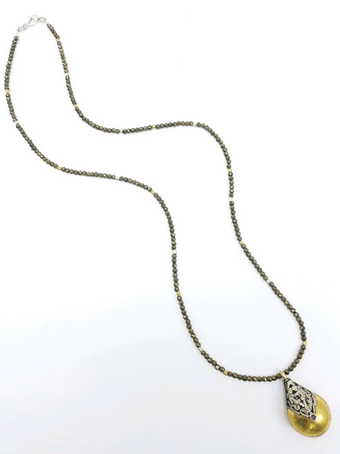 Pyrite and Gold Necklace with Tibetan Pendant