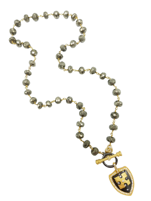 Pyrite Chain with CZ Shield Necklace