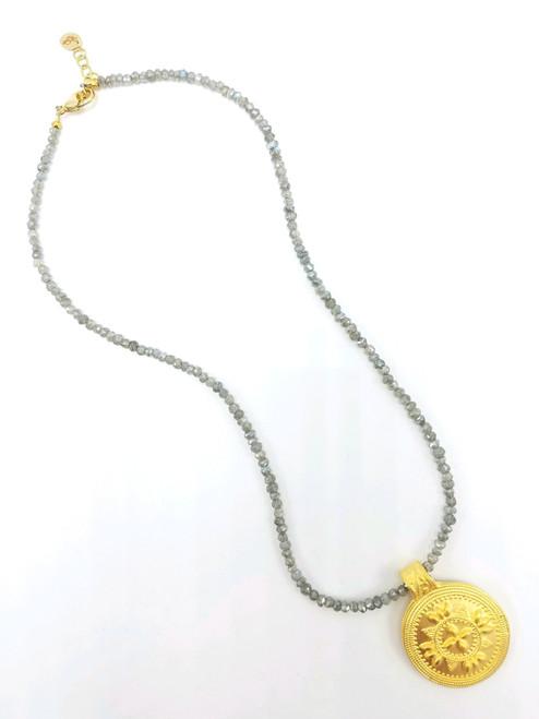Labradorite and Matte Gold Medallion Necklace