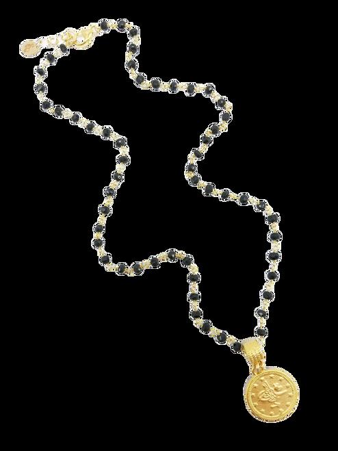 Black Spinel with Matte Gold Medallion Necklace