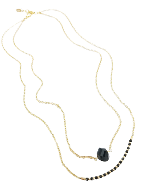 Gold Double Strand  Black Spinel Necklace