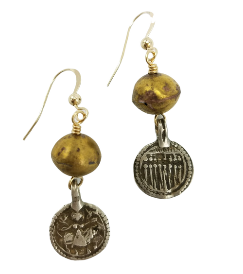 Brass African Bead and Silver Amulet Earrings