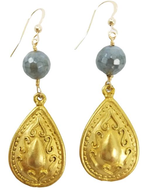 Labradorite and Matte Gold Teardrop Earrings
