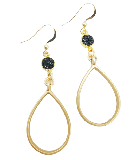 Matte Gold Hoop with Black Druzy Earring