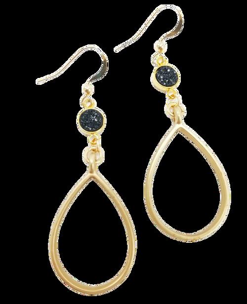 Matte Gold Hoop with Black Druzy Earring