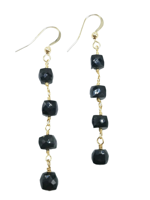Black Spinel Cube Earrings