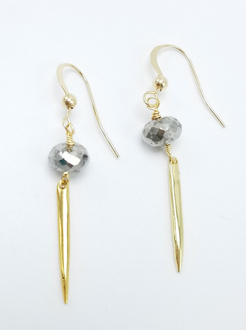Silver Hematite and Gold Spike Earrings