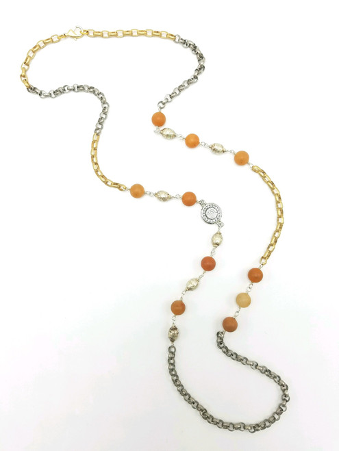 Aventurine and Coin on Mixed Metal Chain Necklace