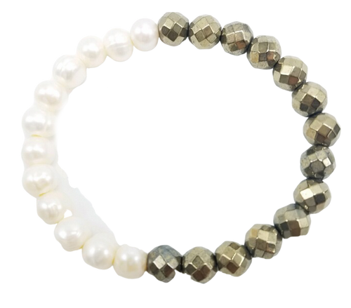 White Freshwater Pearl and Silver Hematite Stretch Bracelet