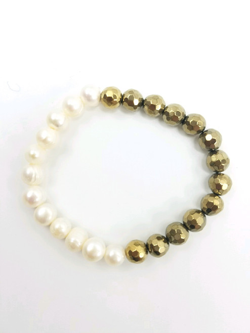 White Freshwater Pearl and Gold Hematite Stretch Bracelet
