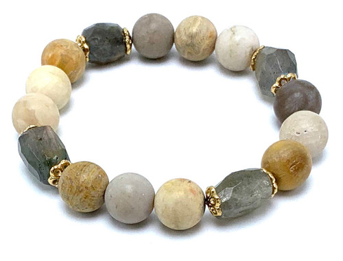 Fossil Coral and Labradorite Stretch Bracelet