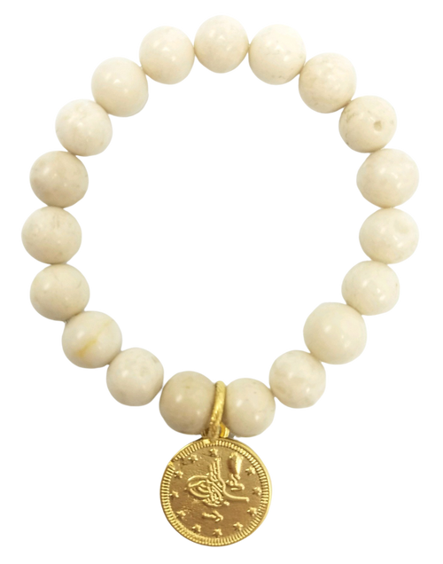 Fossil Jasper and Gold Coin Stretch Bracelet