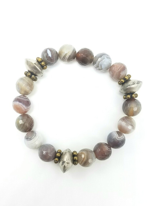 Botswana Agate with Mali Beads Bracelet