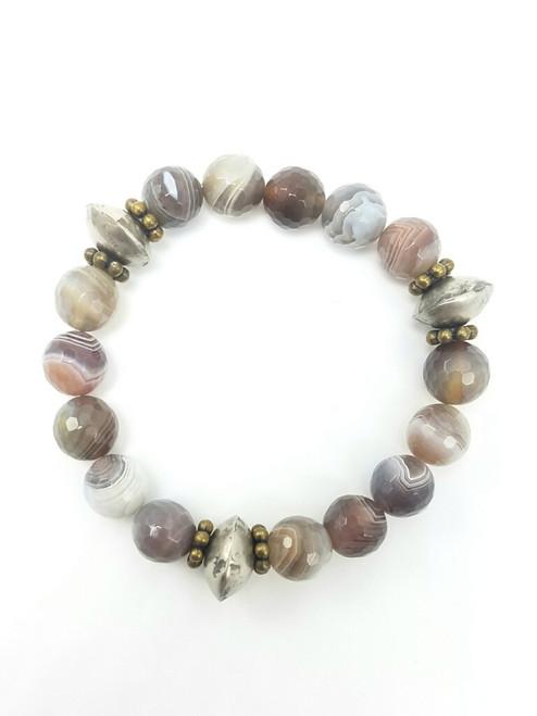 Botswana Agate with Mali Beads Bracelet
