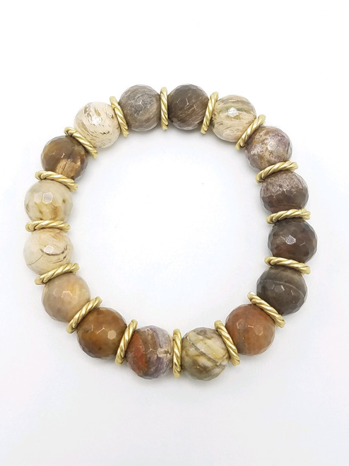 Petrified Wood and Matte Gold Stretch Bracelet