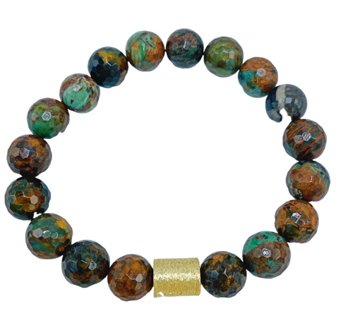 Green Opal and Gold Stretch Bracelet